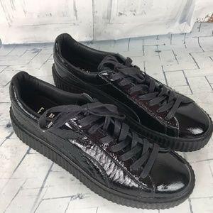 Puma + Fenty Rihanna Black Cracked Leather Creeper
